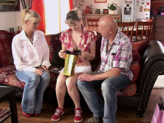 He finds his cuckold teen  romping with old parents