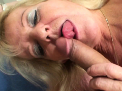 Elderly blonde mother in white stockings rides his big cock