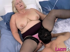 Chubby grandmother pounded