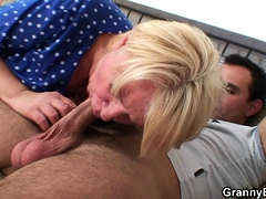 Busty blonde   an young boy