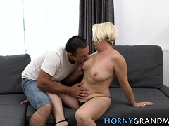 Huge-boobed granny mouth