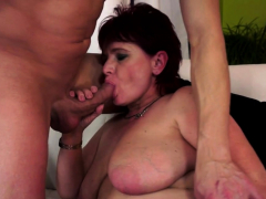 Stockinged  granny gets banged deeply