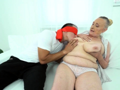 Busty granny enjoys trunk