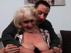 Lush european grandma spooned vigorously