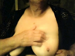 grandmother with saggy bra-stuffers on web cam