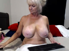 Busty granny toying her  and asshole