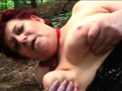 Obese old tramp digging into her pussy before bj
