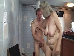 Shameless sex with grandmother in the shower