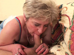 Horny elderly mother awakes him to rail his man rod