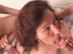 Aged grandmother and men  threesome sex