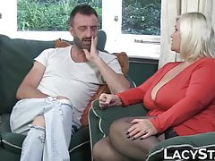 GILF in leather corset takes on 2 massive cocks