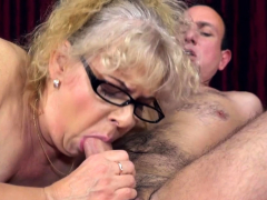 Busty grandmother  cock