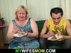 Huge mother-in-law rails his cheating manmeat until  comes