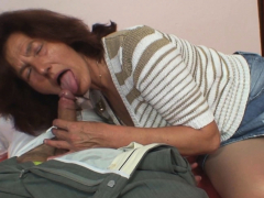 Her highly old mom fellates and rides son-in-law dick