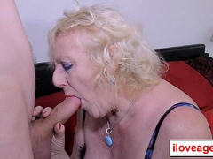 Claire's granny cunt pounded from behind by a young man