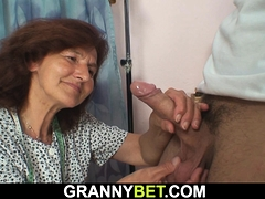 Clothed grandmother loves sucking and railing his dick
