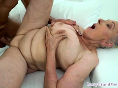 Saggy tittied granny fucking younger salami