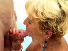 Poolside grannie gets her pussy ground
