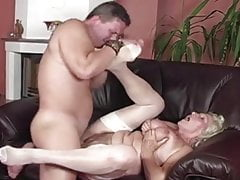 Granny Norma in white stocking takes a internal cumshot