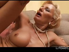 Blonde granny fucking with a young stud