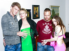 AMATEUR EURO - Swinger German Foursome With Sloppy Granny
