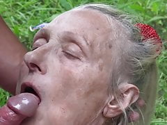 Granny seduced by young nudist