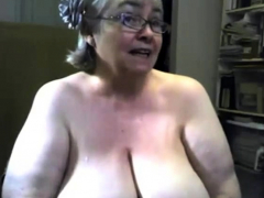 The immense and saggy gran is singing and displaying tits