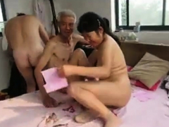 Asian Grandpa Three with mature woman
