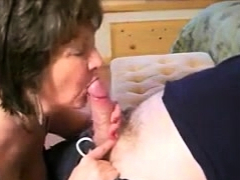 Granny  a sensual and slowly blowjob to her lover