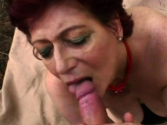 Randy granny bounces her fat belly while gets banged
