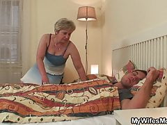 Old mother in law wakes him up for taboo orgy