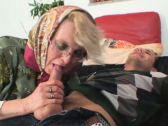 60 years old woman spreads  for him