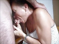 Elder housewife sucking hubby dick and  cum