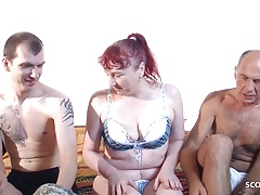 German Grandpa and Grand Son Fuck Redhead Mature Threesome