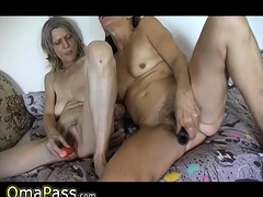 Phat toys in old unshaved pussies and old three way in public