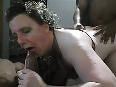 Elderly wife playing with two big black cock in front of her spouse