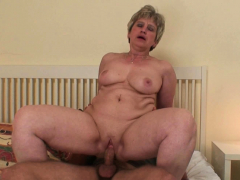 Wild mother in law wakes him up for taboo cock riding