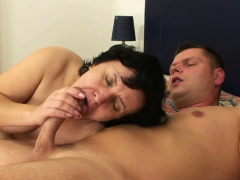 His hairy girlfriends mother sucks and rides stiffy