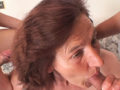 Young studs bang nude senior lady from both sides