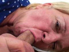 Big-chested old mature blonde gives head and rides his cock