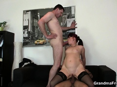Sexy office mature boss swallows  knobs at once