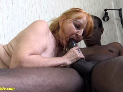 ugly  mom fucked by dark-hued stepson
