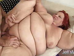 Super-steamy SSBBW Redhead Granny Fucked By Gray Haired Daddy