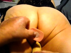 Wife working her 10 inch dildo to a big orgasm