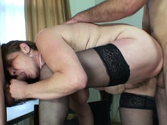 Hairy old mature takes  cocks from both ends