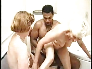 Granny with the addition of Black Guy in the Lave Joined by a Milf