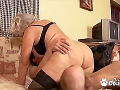 Granny whore degluting coupled with banging massive dick
