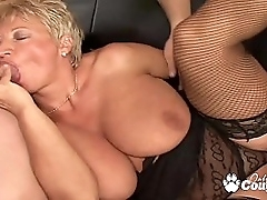Broad in the beam of age blondie gagging and banging hard on couch