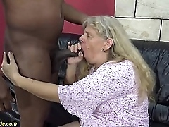 71 years old chubby granny enjoys her first rough big black cock interracial sexual connection