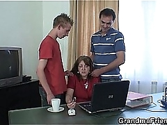 Threesome office fucking just about granny